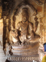 Vishnu seated on Ananda. Cave3Badami