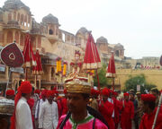 Gauri's procession commencing from the Zanani-Deodhi of the City Palace