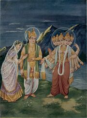Indra giving Devasena to Skandha