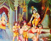 Baby thief Krishna (bazaar art, c.1950's)