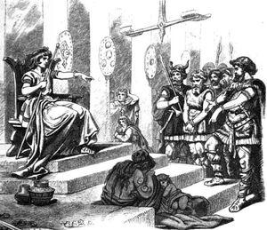Forseti zu Gericht sitzend