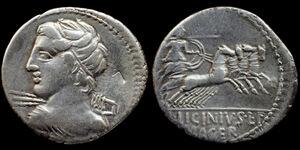 Republican denarius - C. Licinius L.f. Macer