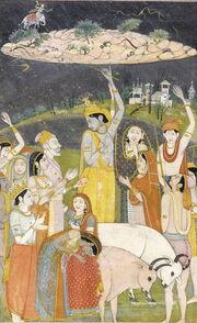 Krishna Holding Mount Govardhan - Crop