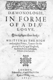 James I; Daemonologie, in forme of a dialogue. Title page. Wellcome M0014280