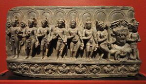 Navagraha (anthropomorphic forms of astronomical bodies), Bihar, India, 10th century AD, schist - San Diego Museum of Art - DSC06389