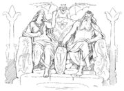 Frigg and Odin in Grímnismál by Frølich