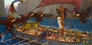 1280px-WATERHOUSE - Ulises y las Sirenas (National Gallery of Victoria, Melbourne, 1891. Óleo sobre lienzo, 100.6 x 202 cm)