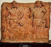 Karttikeya and Agni - Circa 1st Century CE - Katra Keshav Dev - ACCN 40-2883 - Government Museum - Mathura 2013-02-23 5717