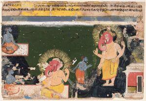 Ganesa writing the Mahabharat