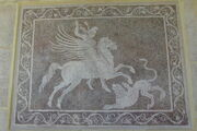 Bellerophon killing Chimaera mosaic from Rhodes