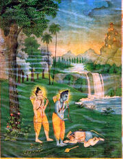 Hanuman meets Sri Rama in Forest