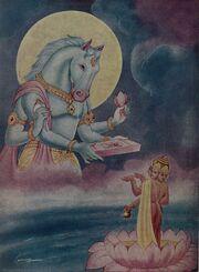 Hayagriva restoring Vedas to Brahma which were taken to Rasatala
