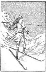 Skadi cazando en las montañas por H.L.M.