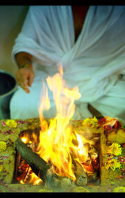 (A) Hindu puja, yajna, yagna, Havanam in progress