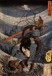 Takagi Toranosuke capturing a kappa underwater in the Tamura river