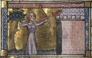 Roman de la Rose f. 129v (Venus aims at the castle)