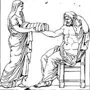 Rhéa présentant une pierre emmaillotée à Cronos dessin du bas-relief d'un autel romain