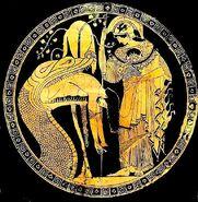 Douriscup 83d40m Athene aegisWingedLionessOwl pythonVomitsJason fleeceInTree Vatican