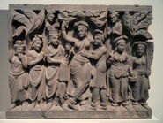Four Scenes from the Life of the Buddha - Birth of the Buddha - Kushan dynasty, late 2nd to early 3rd century AD, Gandhara, schist - Freer Gallery of Art - DSC05128