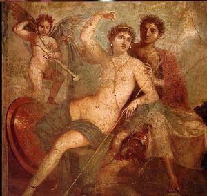 Afrodita, Ares y sus hijos Fobos y Deimos