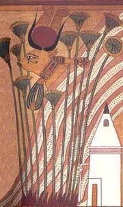 Hathor con ojo sagrado papiro