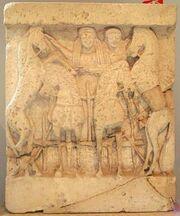 Demeter in horse chariot w daughter kore 83d40m wikiC Tempio Y di Selinunte sec VIa