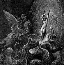 Un caballero montado sobre una criatura alada por adelante y caballo por detrás derriba al dragón marino que amenaza a una mujer desnuda sobre una roca.