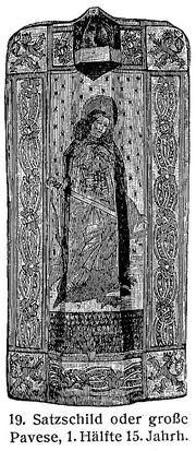 Satzschild Große Pavese 15. Jh. MgKL Rüstungen und Waffen III Fig.19