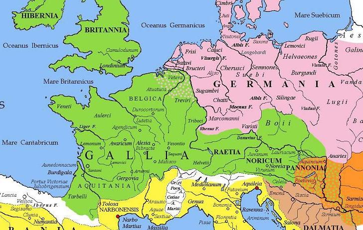 Germanische Stämme Karte.Gallien Mittelalter Wiki Fandom Powered By Wikia