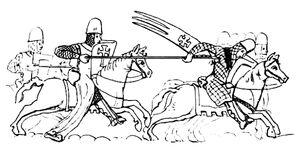 Reitergefecht 13.Jh, handbuchderwaff@Boeheim, Fig.364