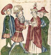 Cod. Pal. germ. 149, Bl. 192v - Otto I. und Papst Johannes XII
