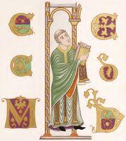 Priester, Evangeliar Darmstadt, 800-860, trachtenkunstwer01hefn Taf.013
