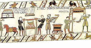 Bayeux Tapestry - Meat is being cooked. The servants have served