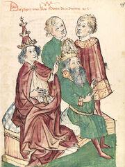Cod. Pal. germ. 149, fol. 195r - Otto III. Kaisersalbung
