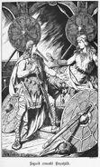 Sigurd erweckt Brynhild, Walhallgermanisc1888dahn p319