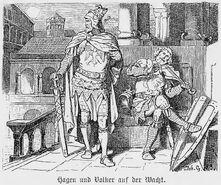 Hagen und Volker am Etzelhof, Nibelungen, Walhallgermanisc1888dahn p617