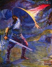 Beowulf fighting the dragon