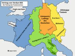 Frankenreich Aufteilung durch Vertrag von Verdun 843