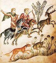 Kodex Medicina antiqua Jagdszene Fol 70 1250