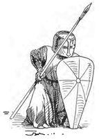Fußknecht, Kathdrale Reims, 1240 handbuchderwaff00collgoog, Fig.185