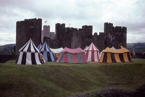 Zeltlager Caerphilly Castle, Wales