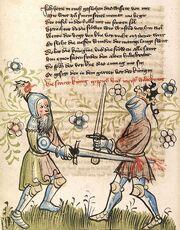 Cod. Pal. germ. 359, fol. 057v - Rosengarten zu Worms, Zweikampf