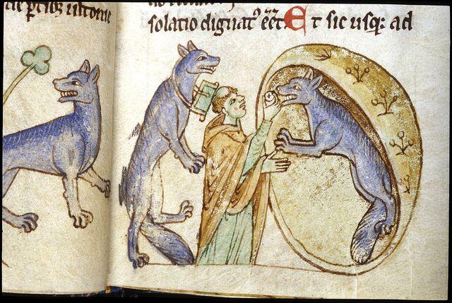 Datei:Werewolves & Priest of Ulster, Topographia Hibernica, Royal 13 B VIII, fol. 18r.jpg
