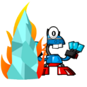 Vulk and Lunk Mix stand near to burrning Ice stand-vector