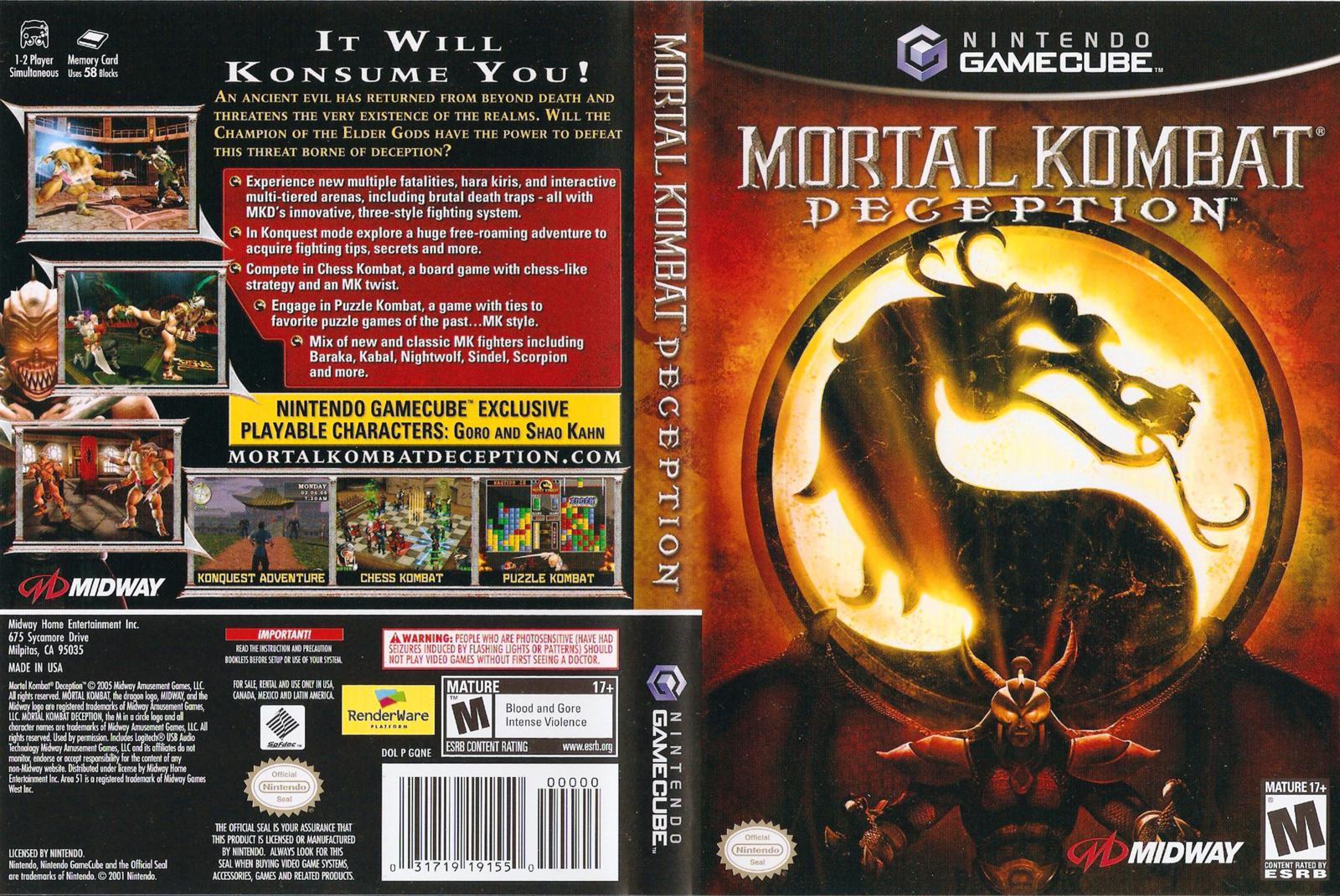 Mortal Kombat Deception Gamecube Cheat Codes