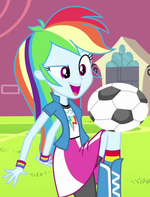 395px-Rainbow Dash bouncing a soccer ball on her knee