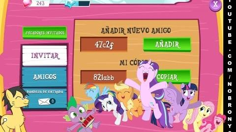 My Friend Codes, My Little Pony Friendship is Magic, Mis Códigos de amigos. MLP FiM de Gameloft.