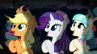 AJ, Rarity, and Coco applauding S5E16