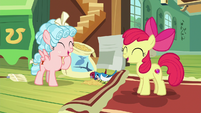 Apple Bloom and Cozy Glow laugh together S8E12