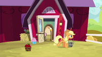 Applejack carries Yona's stew away S9E7